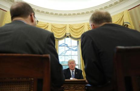 U.S. President Trump speaks during Reuters interview in the Oval Office at the White House in Washington