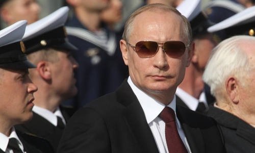 Vladimir Putin at a navy parade in Severomorsk